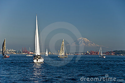 Sailboats And Mountain Stock Photos - Image: 4022503
