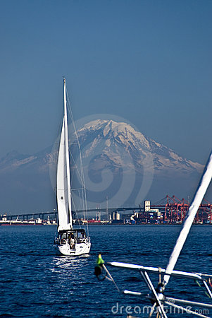 Sailboats and mountain