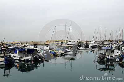 Sailboats in the port of Old Jaffa. Tel-Aviv