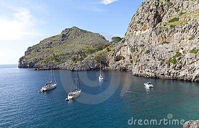 Sailboats at Sa Calobra Beach