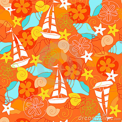 Sailboats Seamless Repeat Pattern Vector