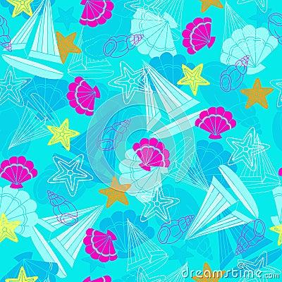Sailboats and Starfish Seamless Repeat Pattern
