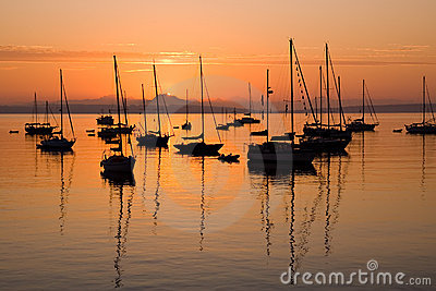 Sailboats at sunrise in Port Townsend Bay