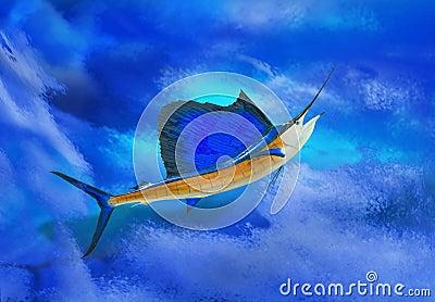 Sailfish with ocean backdrop