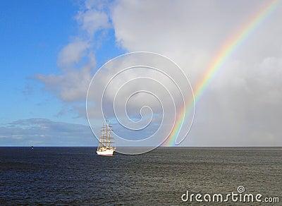 Sailing below the rainbow