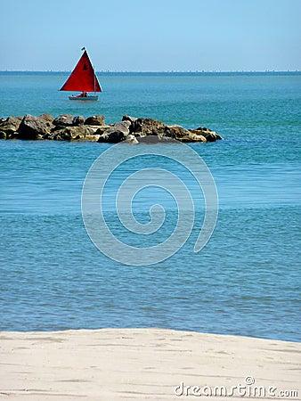 Sailing boat on the adriatic sea