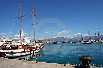 Sailing boat in ajaccio habor