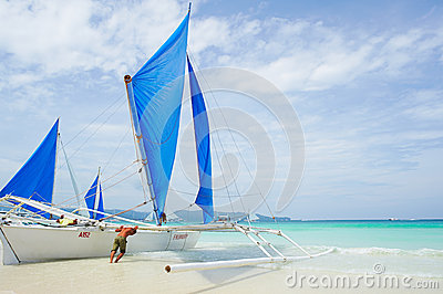 Sailing boat in Boracay island Editorial Photo