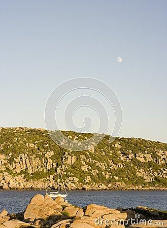 Sailing boat at the coast of sardinia