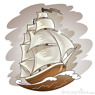Sailing boat floating on water surface. Vector col