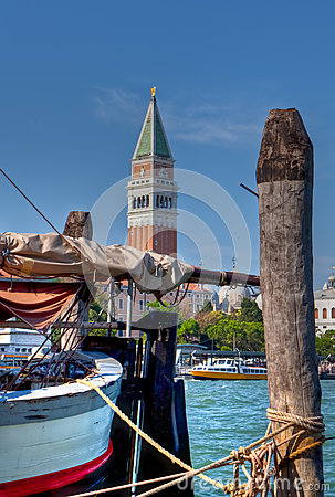 Sailing boat in front of San Marco, Venice