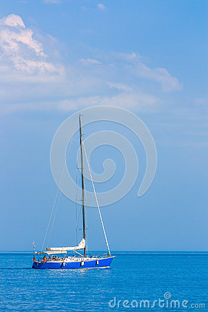 Sailing boat on the high seas