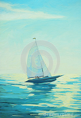 Free Sailing Boat In The Morning Sea, Painting, Stock Photo - 38734760