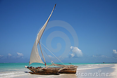 Sailing boat in a lagoon