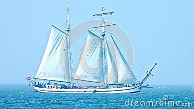 Sailing boat no sea stock video footage