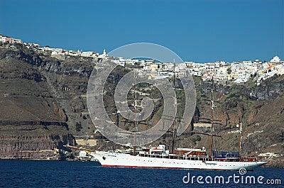 Sailing boat off the coast of Santorini