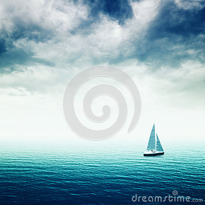 Free Sailing Boat On The Sea Royalty Free Stock Photos - 37006288