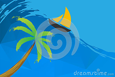 Sailing boat and palm on the water