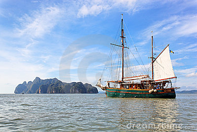 Sailing boat in Phang Nga Bay, Thailand