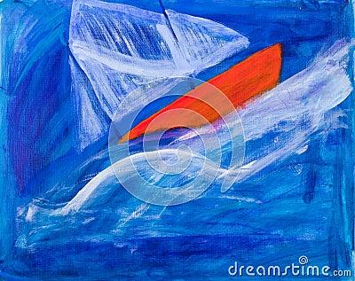 Sailing boat racing painting by Kay Gale