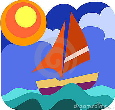 Sailing boat in the wavy sea