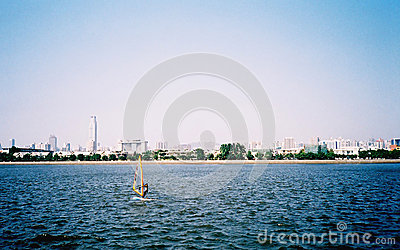 Sailing boat in the wind Editorial Stock Photo