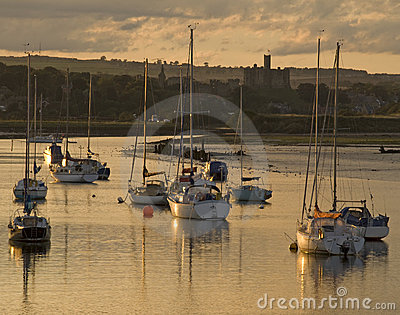 Sailing boats at Amble Harbour