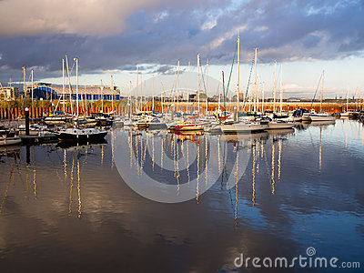 Sailing Boats in Cardiff at Sunset