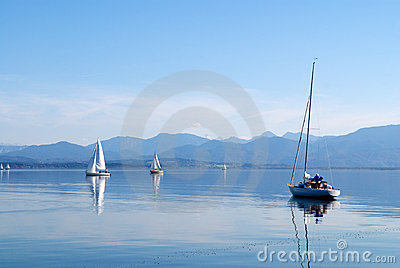 Sailing boats in the Chiemsee lake