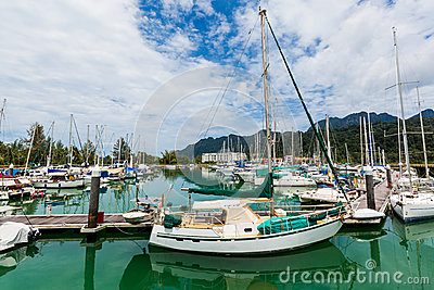 Sailing boats docked