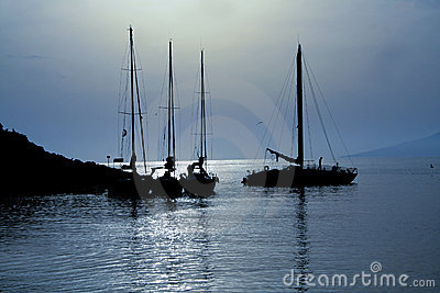 Sailing boats in the moonlight