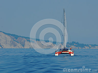Sailing catamaran in the Ionian Sea Editorial Photography