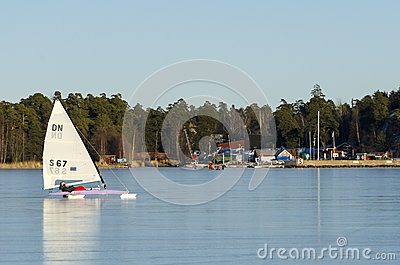 Sailing DN iceboat Editorial Photography