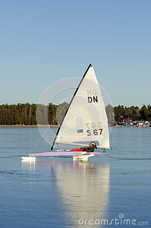 Sailing DN iceboat Editorial Image