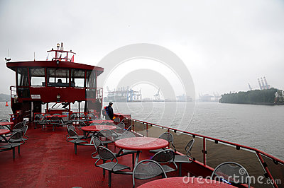 Sailing in the fog Editorial Stock Image