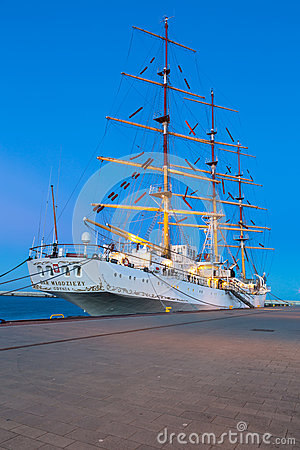 Sailing frigate in harbor of Gdynia, Poland Editorial Image
