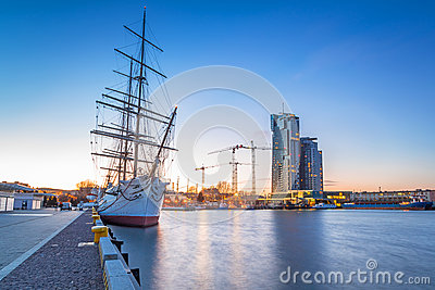 Sailing frigate in harbor of Gdynia Editorial Photo