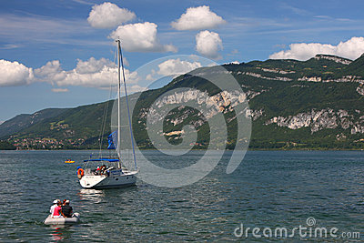 Sailing on Lac du Bourget Editorial Photography