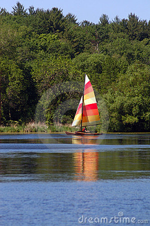 Sailing on a lake