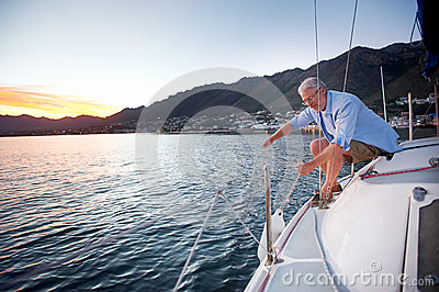 Sailing mature man