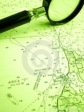 Sailing navigation chart with magnifier