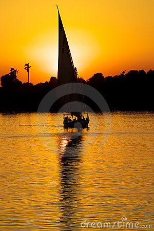 Free Sailing On The Nile, Egypt At Sunset Stock Image - 1481061