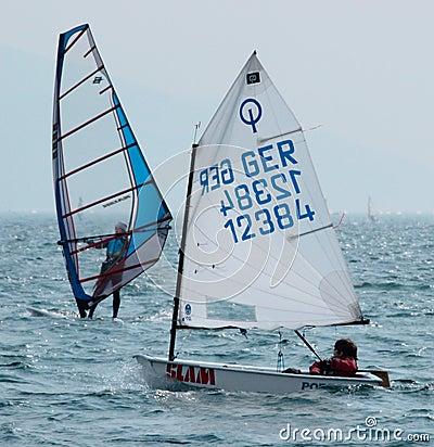 Sailing - Optimist Class Editorial Stock Image