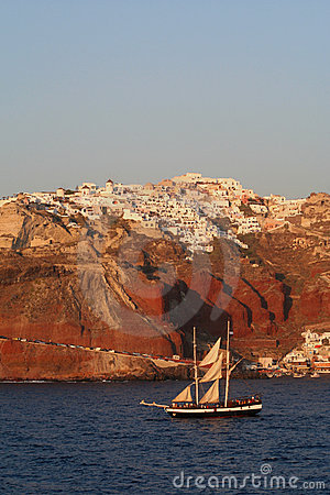 Sailing past Santorini.