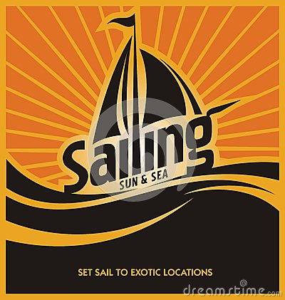 Sailing poster vector design template