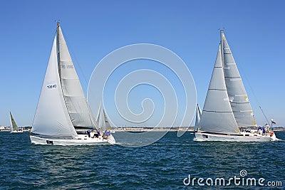 Sailing regatta of cruiser sailing yachts Editorial Stock Image