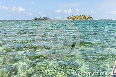 Sailing between San Blas caribbean islands. Panama paradise. Cen