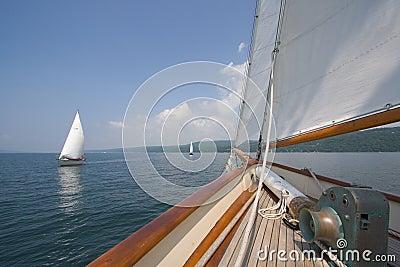 Sailing in scooner