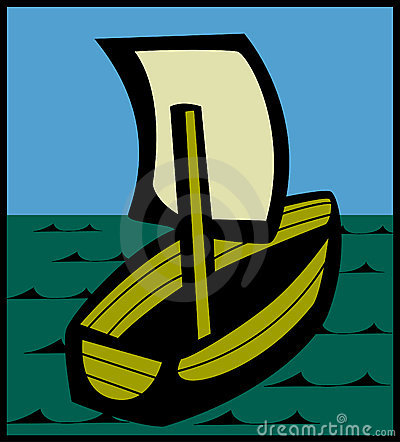 sailing ship or boat with sail. Vector available