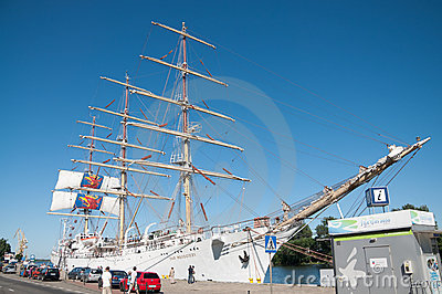 Sailing ship Dar Mlodziezy by the wharf Editorial Stock Photo